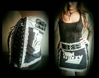 Thin Lizzy For Fox Sake Black and White Lace Up Buckle Mini Skirt S M One of a Kind