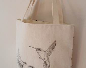 Original pen ink drawing on SMALL fabric tote bag, gift bag, teacher gift bag, hummingbird, Monica Minto