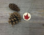 Cross stitch laser cut birch wood Canadian maple leaf pendant necklace for Canada 150