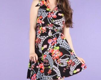 70s Vintage Floral Halter Dress S