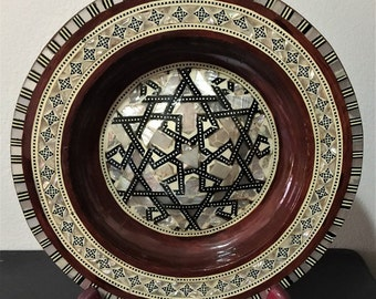 Vintage Egyptian Wood Hand Made Plate, Inlaid Design With Different Color Mother of Pearl And Agate. Domed Center, 8 inch, Wall  or on Stand