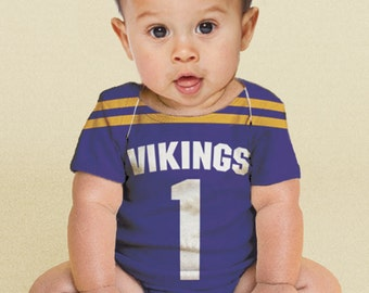 Baby Football Jersey Bodysuit, Personalized Jersey, Any Team, Custom Sport Onepiece, Boy's One Piece Clothing, Shirt