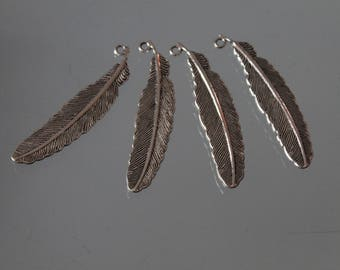 4 silver feather pendant. charm - dream catcher - jewelry - charm - decoration