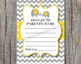Baby Shower Advice Cards Yellow Grey Elephant Advice for Parents to Be Chevron Printable Digital PDF Instant Download diy 4x6 - 009