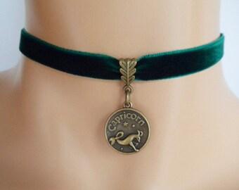 green velvet choker, capricorn choker, capricorn necklace, zodiac charm, antique bronze