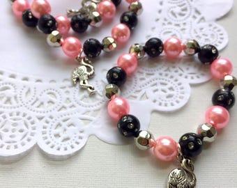 Flamingo party, flamingo bracelet, flamingo jewelry, birthday favor, pink, black, kids jewelry, beaded bracelet, SET of TEN.