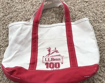 LL Bean Boat and Tote 100 year anniversary canvas bag Deer Red  Commemorative Made in the