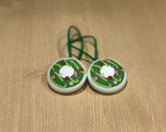 "1 1/8"" Size 45 Green/Pink/Purple Donut Fabric Covered Button Hair Tie / Ponytail Holder / Party Favor (Set of 2)"