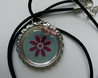 Flower Bottle Cap Necklace