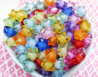 50x 12mm Candy Coloured Faceted Star beads