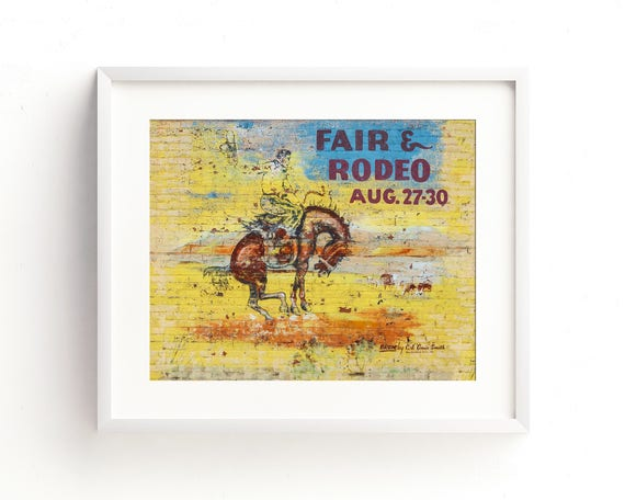 vintage mural art colorful wall art western decor mid