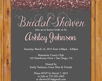 Blush Bridal Shower Glitter Sparkles Invite Pink Grey Hens Party Printable Invitation 5x7 Digital JPG (439)