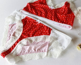 red polkadot lingerie set, vintage style polkadot bralette, white mesh panties