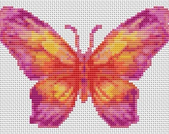 Butterfly Cross Stitch Chart, The Sunset Butterfly Cross Stitch Pattern PDF, Art Cross Stitch, Butterfly Series, Embroidery Chart