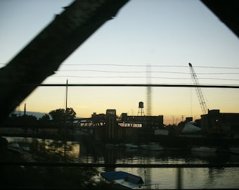 Chicago Photo, Chicago bridge, Chicago Art, Chinatown, Chicago Photography, silhouette, sunset, canal, boats, architecture, industrial
