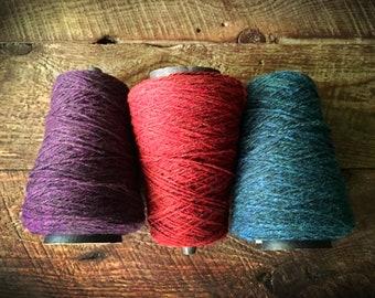 Wool weaving yarn on a cone - worsted weight, sports weight yarn Harrisville Designs Shetland wool, Highland wool, wool yarn cone