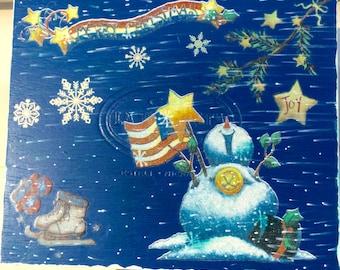 All American Snowman Storage Box, Christmas, American Flag