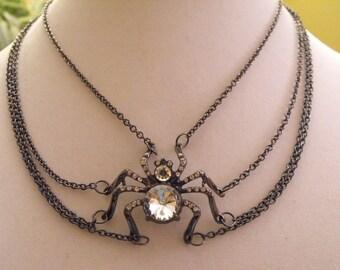 OOAK Hematite / gunnite  crystal spider necklace, Halloween necklace, statement necklace, holiday necklace, crystal necklace