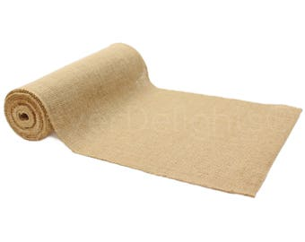 """10 Yards - 12"""" Premium Burlap Roll - Finished Edges - Eco-Friendly Natural Jute Burlap Fabric - For 12 Inch Table Runners & Rustic Decor"""