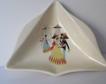 """Vintage Beswick ceramic Pin Tray. Pin Dish. 1950s Beswick """"Happy Morn"""" Pin Tray. Gift idea"""