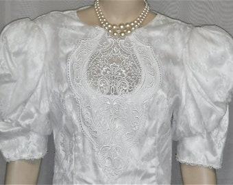 Vintage 1980's Scott McClintock Wedding Dress Shoulder Pads Tea Length Size 10 White