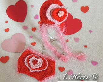Crochet Sweet Heart Valentines Hat and Diaper Cover Photo Prop Set (Newborn Size Only) - PATTERN ONLY