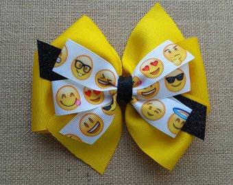 Emoji Hair bow, emoji pinwheel bow, pinwheel, little girl hair bow