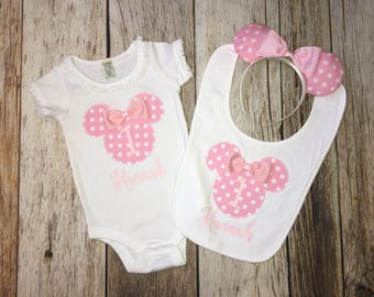 Minnie Mouse Inspired Pink White Polka Dot First Birthday Second Baby Girl Onesie Bib Headband Ears