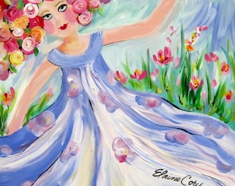 Dancing Original Painting 16 x 20 Art by Elaine Cory