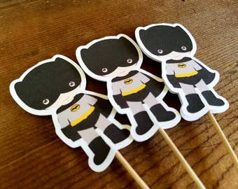 Superhero Friends Party Collection - Set of 12 Batman Cupcake Toppers by The Birthday House