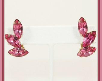Vintage Pink Rhinestone Earrings,Vintage Rhinestone Earrings,Vintage Pink Marquise Rhinestone Earrings,Vintage Rhinestone Jewelry,Vintage