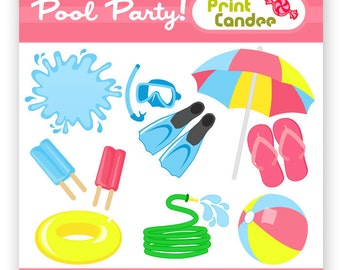 70% OFF SALE! - Pool Party - Digital Clip Art - Personal and Commercial Use - snorkel summer beach ball umbrella hose splash float