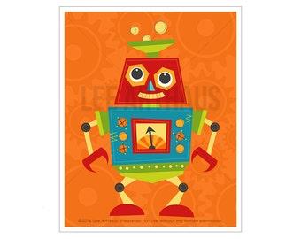 Robot Wall Art - Robot 2 Wall Art - Robot Poster - Baby Boy Nursery Wall Art - Robot Prints - Colorful Robot Drawing - Robot Digital Art