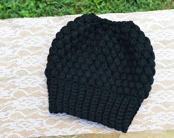 Crochet Messy Bun Beanie, Crochet Bun Hat, Messy Bun Hat, Crochet Hat