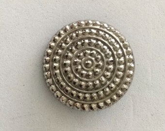 Pretty Vintage Silver Luster Black Glass Button