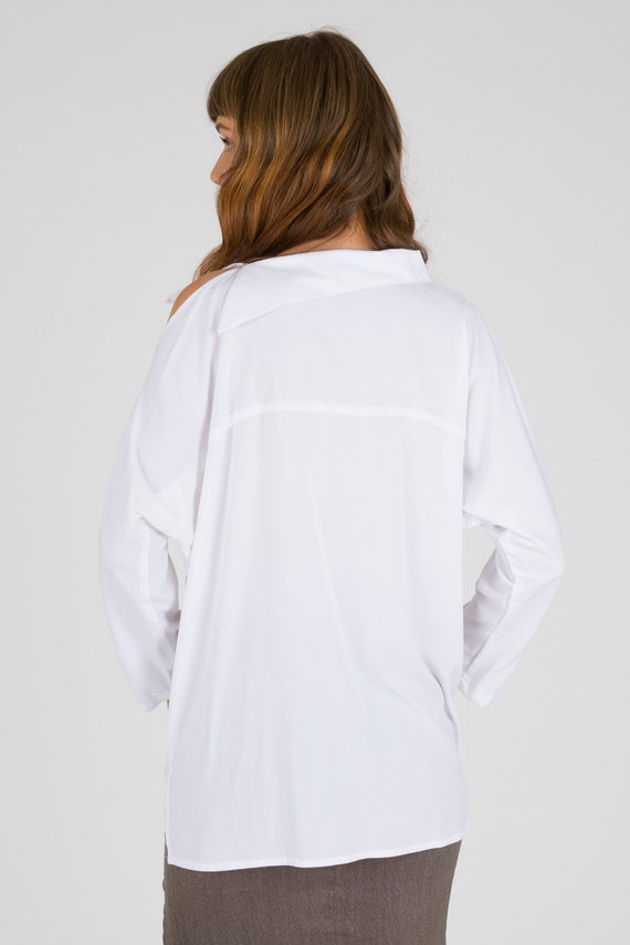 Cut Shoulder Office Top Tops Unique Sleeve Elegant Wear Blouse Formal Top Women White Fashion For Loose Long wccPgAFq