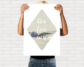 Printable Surf Quote, Ocean Printable, Ocean Decor, Ocean Quote, Beach Wall Art, Surf Poster, Surfing Art Print, Printable Quote
