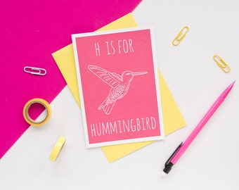 Hummingbird Card / Animal Alphabet Card / Blank Card / Hummingbird Birthday Card / Cute Pink Card / Recycled Card / Childrens Card