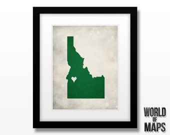 Idaho State Map Print - Home Town Love - Personalized Art Print