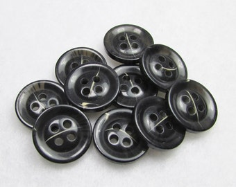 "Dark Gray with a Flash: 5/8"" (15mm) Semi-Transparent Buttons - Set of 10 New / Unused Buttons"