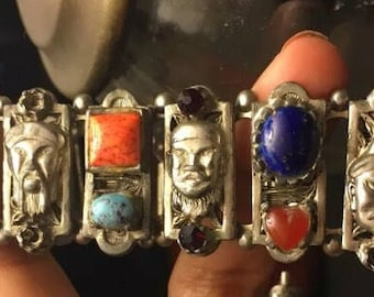 Vintage/antique Asian/chinese figural (faces)silver bracelet multicolor(emerald green peking glass,lapis blue,coral)cabochons,crystals,pear