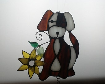 Dog Wind Chime in Stained Glass