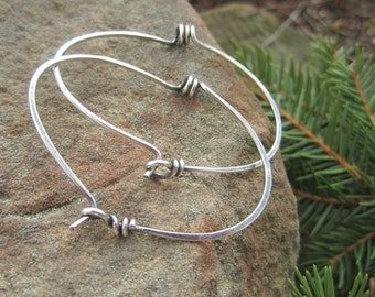 Industrial looking Spiral Hoop Earrings in Sterling Silver- 'StonePeace Hoops'