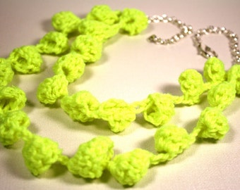 Neon Crochet Bobble Necklace Crafted Fashion Gift under 50 Bright Retro