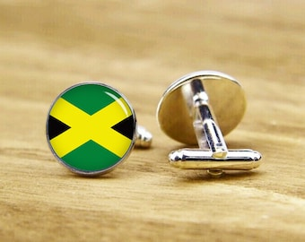 Flag of Jamaica cufflinks, Jamaican, custom national flag cufflinks, patriot cufflinks, round, square cufflinks, tie clip or a matching set