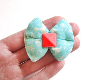 Light Turquoise Lace Print Puffy Bow Hair Clip