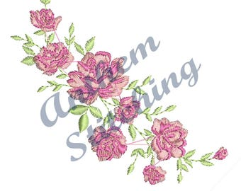 Pink Roses Flowers #17 embroidery design in 10 formats