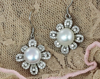 CZ Flower Earrings with Freshwater Pearls