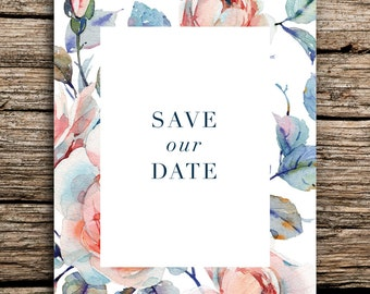 Minimalist Roses Save the Date Cards // Modern Wedding Save the Dates Botanical Cards Minimal Watercolor Rose Floral Flowers Garden Peach