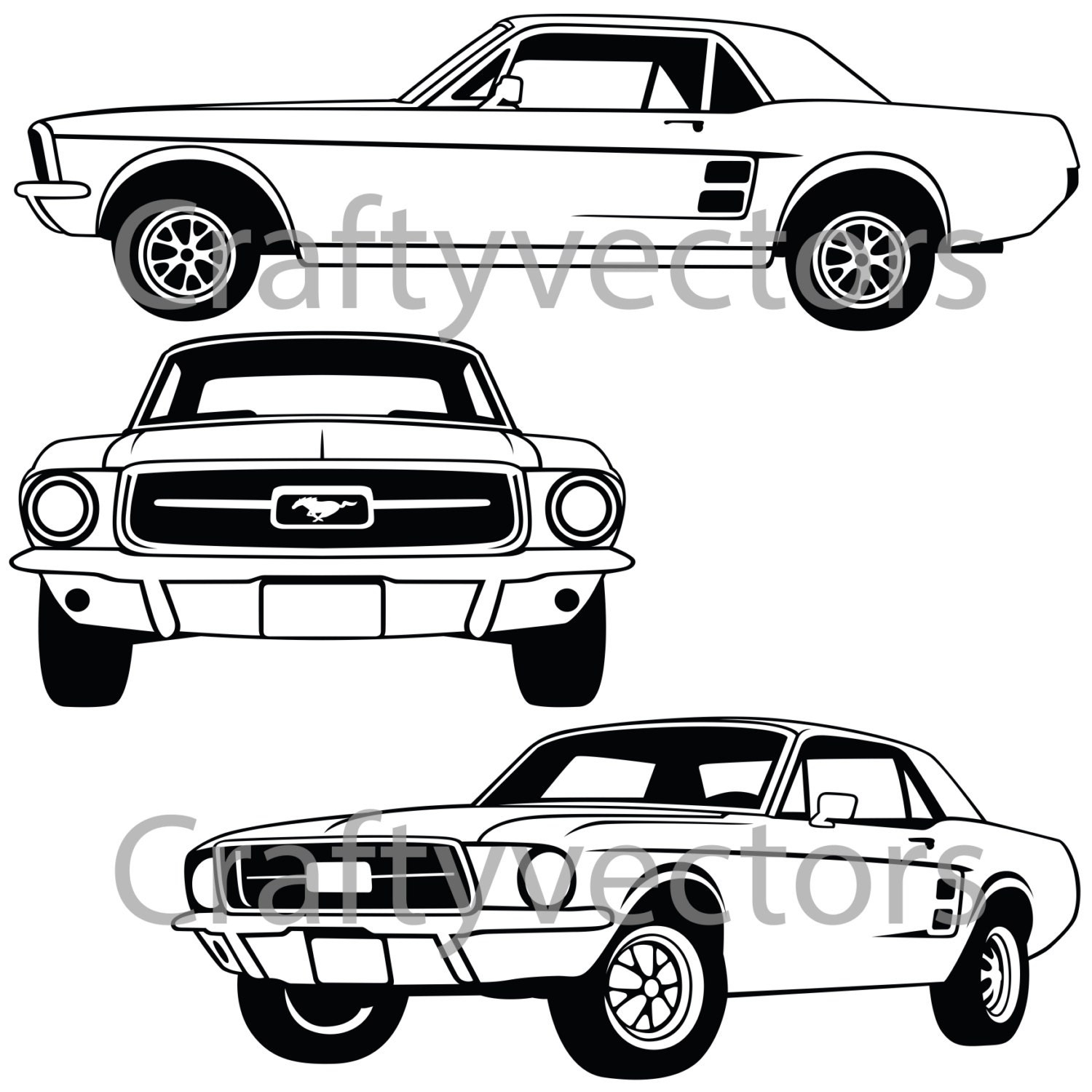 Ford Mustang 67 Coupe Vector File